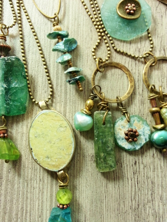 Repurposed stone pendants from antique Afghani necklaces, ancient glass, pearls, kyanite.