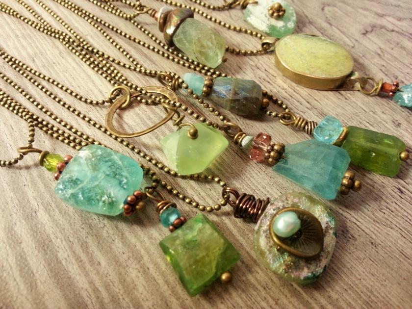 Ancient glass, prehnite, peridot, apatite, pearls.