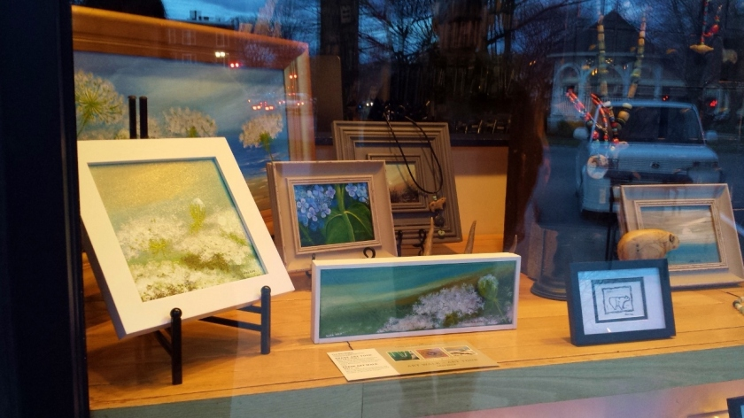 Our window at The Knitting Knook, right on the circle on downtown Keene.