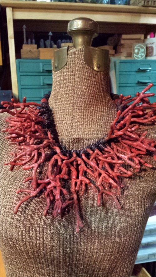 I've nicknamed this the feral coral necklace, but it will have a beautiful new name by tomorrow.  All polymer clay. I made an armature for each piece of faux coral.