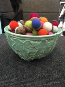 Melinda Labarge makes these adorable felted acorns for her younger visitors. Lucky kids!!