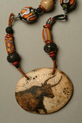 Brown Trade Bead Ancient Bull Necklace
