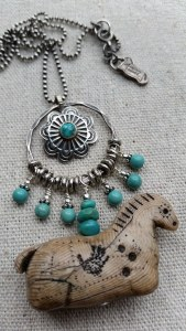 turquoise and sterling horse necklace